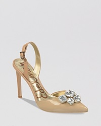 Sam Edelman Pointed Toe Slingback Evening Pumps Mark High Heel Classic Nude