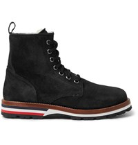 Moncler New Vancouver Shearling Lined Suede Boots Black