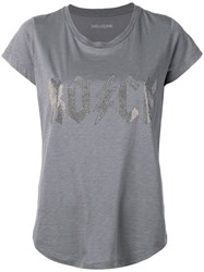 Zadig And Voltaire Skinny Rock Flashlight Strass T Shirt Grey