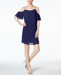 Msk Rhinestone Off The Shoulder Shift Dress Deep Navy