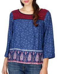Lucky Brand Embroidered Three Quarter Sleeve Top Navy