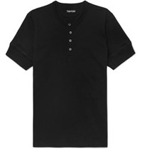 Tom Ford Slim Fit Cotton Jersey Henley T Shirt Black
