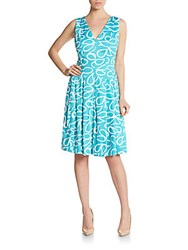 Anne Klein Printed Cotton Sateen Dress Azure