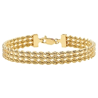 Ibb 9Ct Gold Hollow 3 Strand Rope Bracelet Gold
