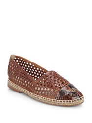 Alexandre Birman Python And Leather Espadrille Flats White