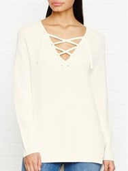 Whistles Slouchy Tie Neck Ribbed Jumper Ivory