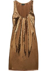 Tom Ford Sequined Stretch Tulle Mini Dress Gold