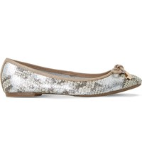 Dune Hero Snake Embossed Leather Ballet Flats Pewter Reptile
