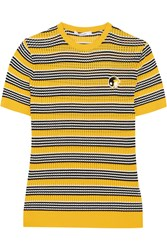 Carven Striped Open Knit Cotton And Silk Blend Top Yellow