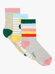 Boden Stripe And Pineapple Print Ankle Socks Pack Of 3 Multi
