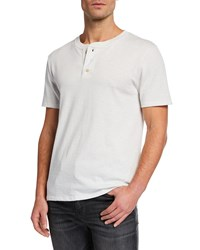 7 For All Mankind Boxer 3 Button Henley Shirt White
