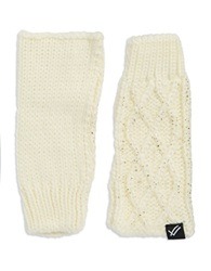 William Rast Cable Knit Fingerless Gloves Ivory