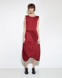 Issey Miyake Optical Dress Red