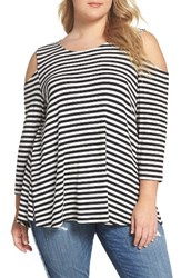 Bobeau Plus Size Women's Stripe Rib Knit Cold Shoulder Top