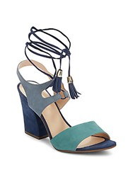 Saks Fifth Avenue Kaira Leather Ankle Strap Sandals Blue