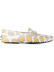 Tod's Animal Print Loafers White