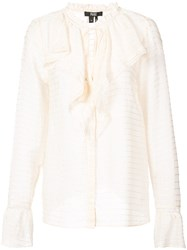 Paige Ruffle Long Sleeve Blouse Nude And Neutrals