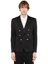 Balmain Double Breasted Cotton Blend Jacket Black