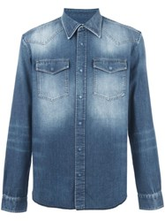 Maison Martin Margiela Bleached Effect Denim Shirt Blue