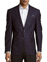 Tallia Long Sleeve Wool Windowpane Jacket Navy