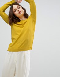 Weekday Fine Gauge Knit With Sheer Detail Yellow