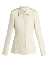 Wales Bonner Silk And Wool Blend Military Jacket Ivory