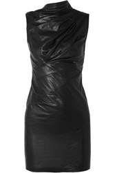 Rta Holly Ruched Textured Leather Mini Dress Black