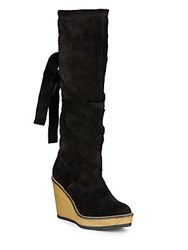 Robert Clergerie Tie Back Round Toe Tall Boots Black