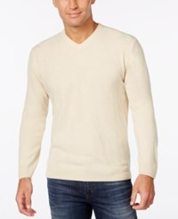 Weatherproof Vintage Men's Big And Tall V Neck Sweater Only At Macy's Antique Ivory