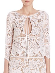 For Love And Lemons Gianna Lace Cropped Top White