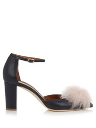 Malone Souliers Jan Fur Pompom Leather Pumps Navy Multi