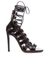 Aquazzura Amazon Calfskin Leather Lace Up Sandals In Black