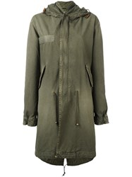 Mr And Mrs Italy Long Line Hooded Parka Green