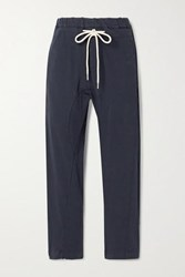 Bassike Cropped Organic Cotton Jersey Track Pants Midnight Blue
