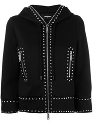 Dsquared2 Cropped Studded Hoodie Black