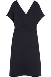 Jil Sander Layered Scuba Jersey And Stretch Cotton Dress Navy