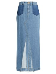 Sea Front Slit Denim Skirt