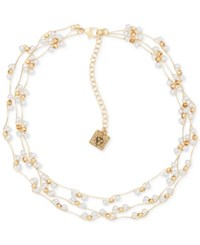 Anne Klein Gold Tone Beaded Multi Row Collar Necklace