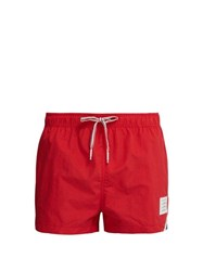 Thom Browne Tricolour Stripe Swimshorts Red