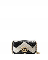 Gucci Supermini Quilted Leather Chain Shoulder Bag Black White Black White