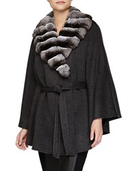 Chinchilla Fur Collar Belted Cashmere Cape Gray Sofia Cashmere