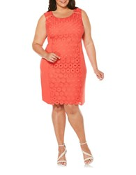 Rafaella Plus Roundneck Sleeveless Lace Dress Red