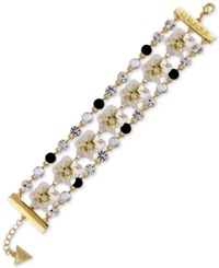 Guess Gold Tone Crystal And Stone Flower Triple Row Flex Bracelet Gold Grey
