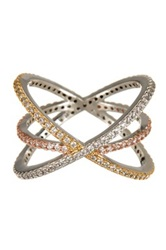 14Th And Union Tri Tone Crisscross Pave Ring Size 7 Metallic