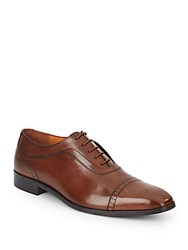 Massimo Matteo Leather Perforated Oxfords Brandy