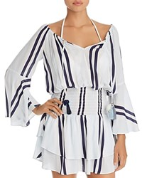 Surf Gypsy Off The Shoulder Stripe Ruffle Hem Dress Swim Cover Up Blue Lagoon