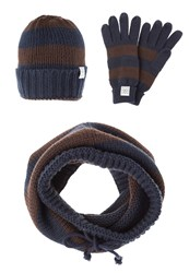 Your Turn Set Scarf Blue Brown