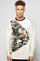 Boohoo Camo Spliced Sweater With Textured Sleeves Stone