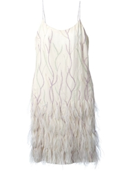 Jean Louis Scherrer Vintage Embroidered Slip Dress White
