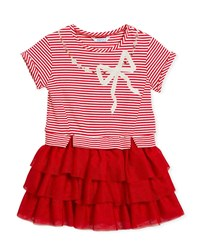 Mayoral Stripe Top Dress W Tiered Tulle Skirt Size 3 7